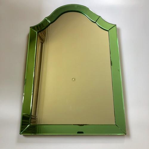Superb Art Deco green edged wall mirror