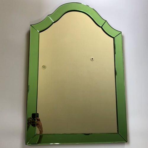 Superb Art Deco green edged wall mirror