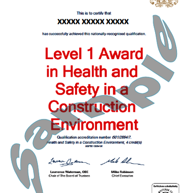 QCF Level 1 H&S in a Construction Environment (1 day* CSCS Labourer card course)