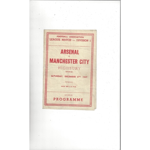 1947/48 Arsenal v Manchester City Pirate Football Programme