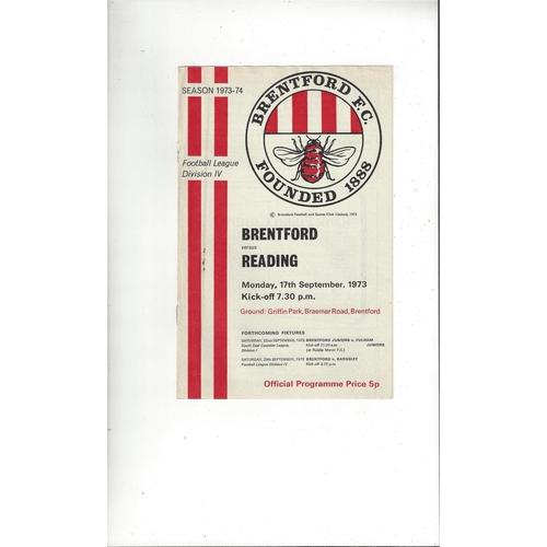 1973/74 Brentford v Reading Football Programme