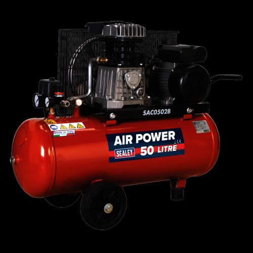 Compressor 50ltr Belt Drive 2hp with Cast Cylinders & Wheels - Sealey - SAC0502B