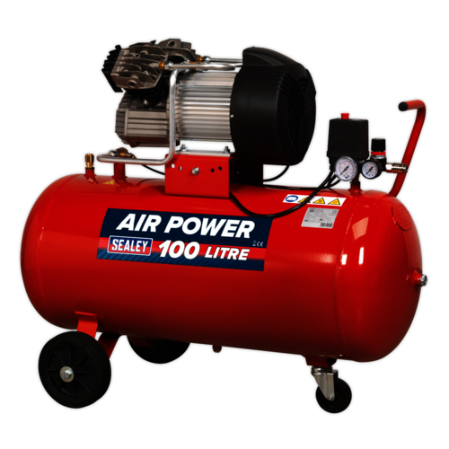 Compressor 100ltr V-Twin Direct Drive 3hp - Sealey - SAC10030