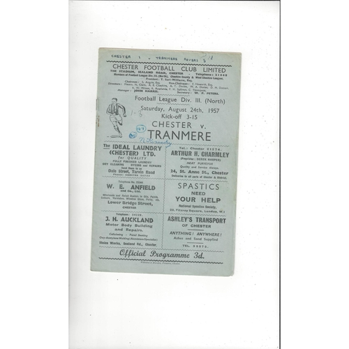 1957/58 Chester v Tranmere Rovers Football Programme