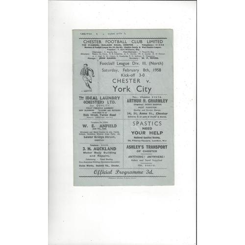 1957/58 Chester v York City Football Programme