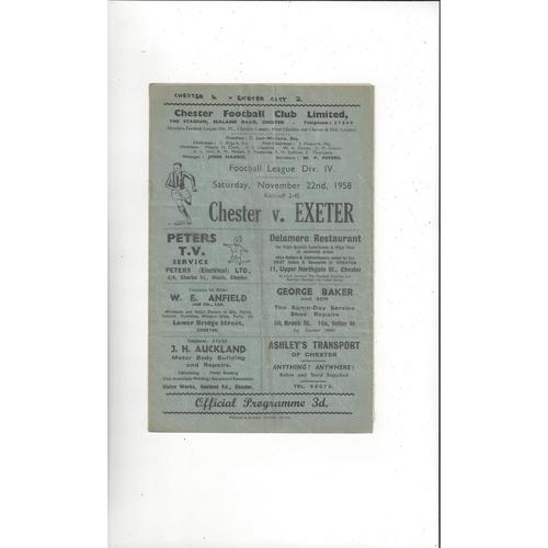 1958/59 Chester v Exeter City Football Programme
