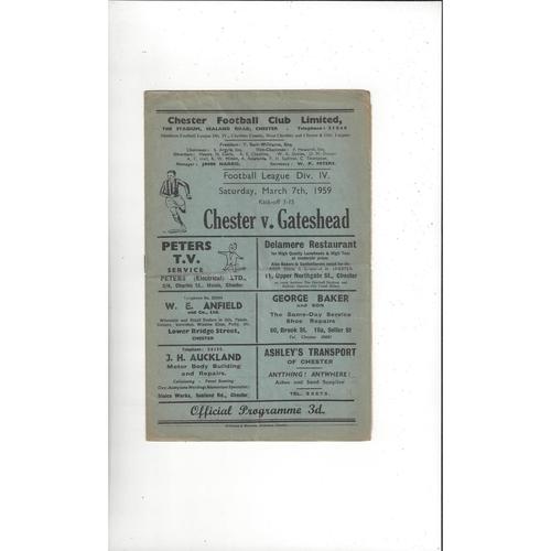 1958/59 Chester v Gateshead Football Programme