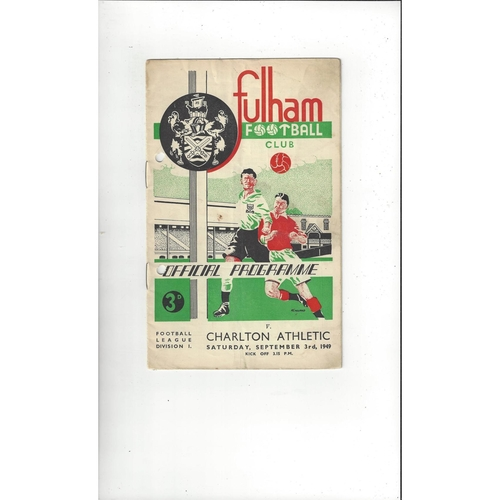 1949/50 Fulham v Charlton Athletic Football Programme