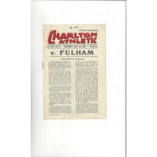 1949/50 Charlton Athletic v Fulham FA Cup Football Programme