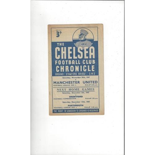 1947/48 Chelsea v Manchester United Football Programme