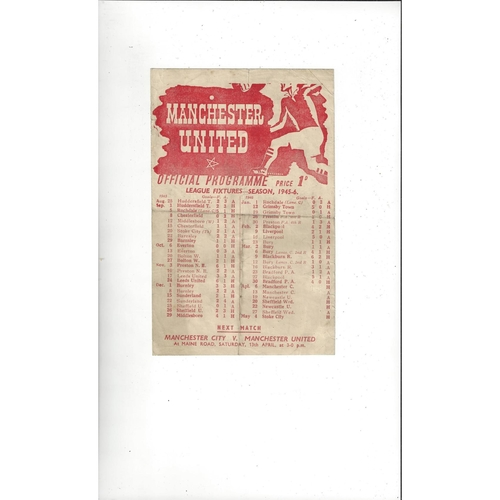 1945/46 Manchester United v Manchester City War League North Football Programme