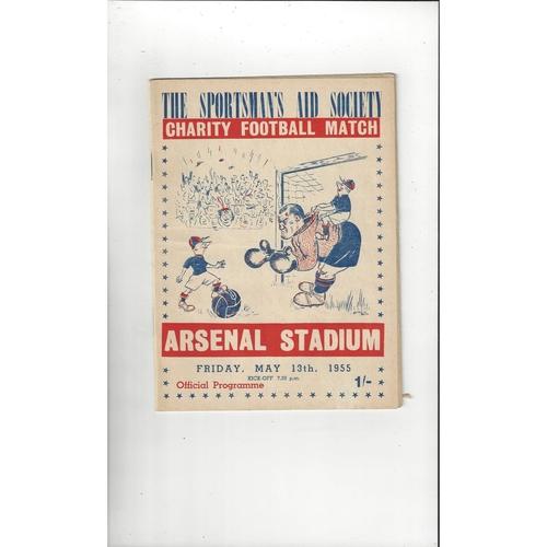 Boxers v Jockeys Charity Match Football Programme 1954/55 @ Arsenal