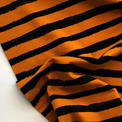 Painted Stripes Ochre Looped Back Jersey 55cm Remnant
