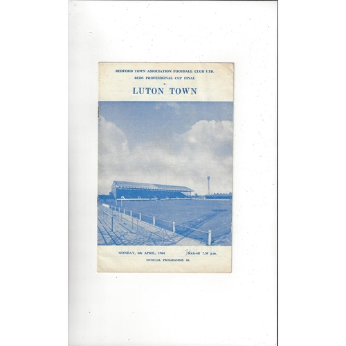 1963/64 Bedford Town v Luton Town Bedfordshire Cup Final Football Programme