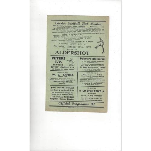 1959/60 Chester v Aldershot Football Programme