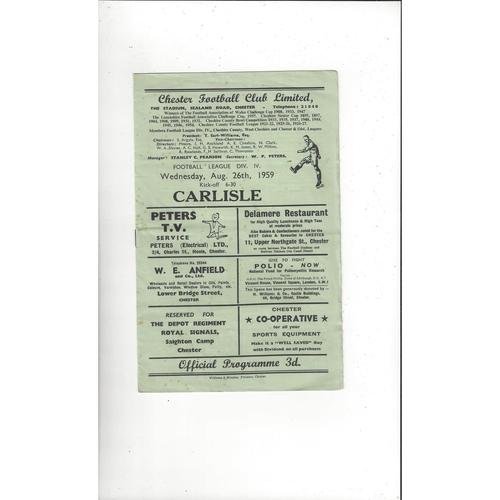 1959/60 Chester v Carlisle United Football Programme