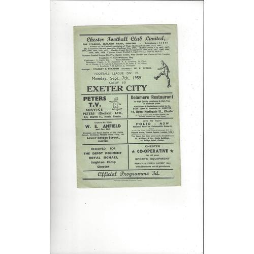1959/60 Chester v Exeter City Football Programme