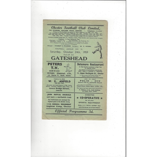 1959/60 Chester v Gateshead Football Programme