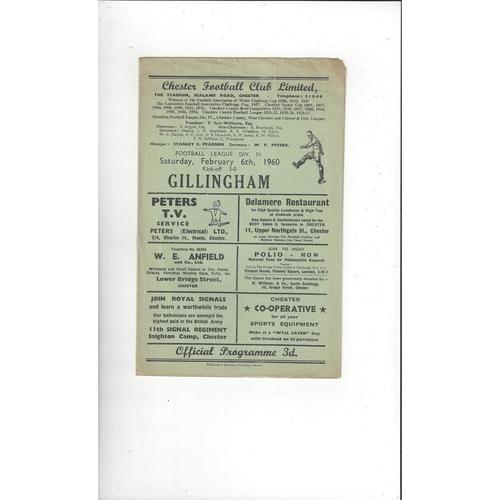 1959/60 Chester v Gillingham Football Programme