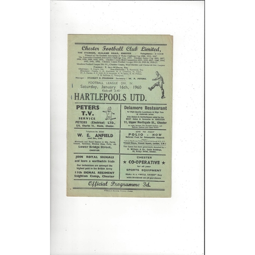 1959/60 Chester v Hartlepool United Football Programme
