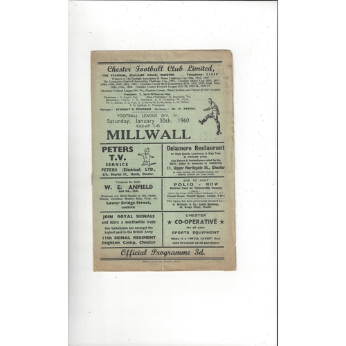 1959/60 Chester v Millwall Football Programme