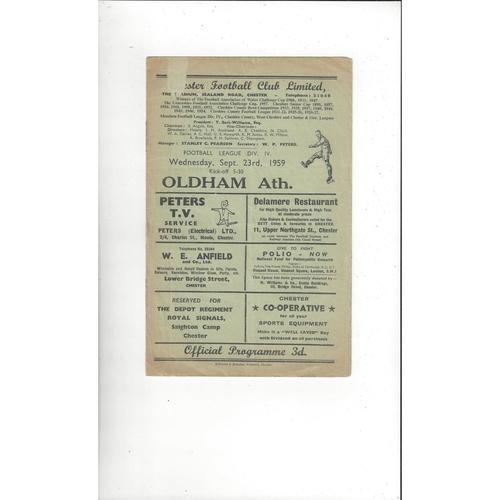 1959/60 Chester v Oldham Athletic Football Programme