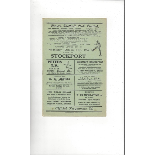 1959/60 Chester v Stockport County Football Programme