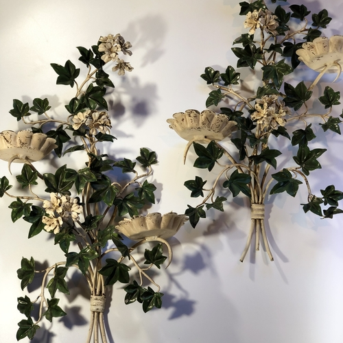 Pair of Italian toleware ivy and geranium wall sconces