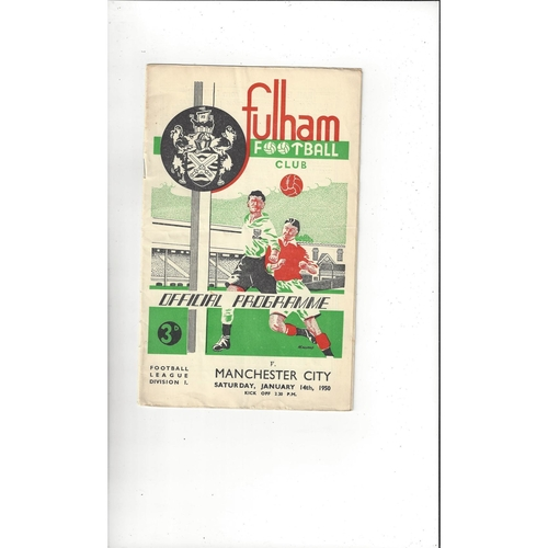 1949/50 Fulham v Manchester City Football Programme