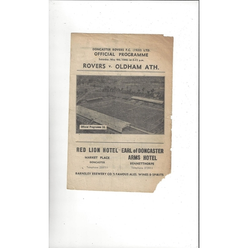 1945/46 Doncaster Rovers v Oldham Athletic Football Programme