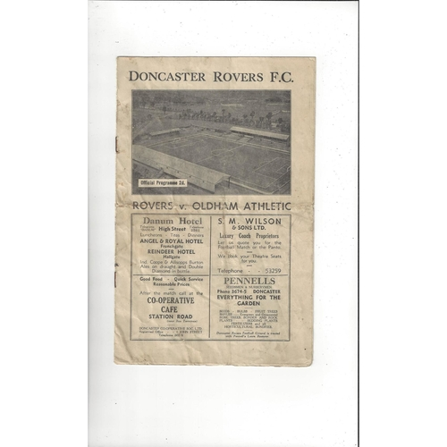 1946/47 Doncaster Rovers v Oldham Athletic Football Programme
