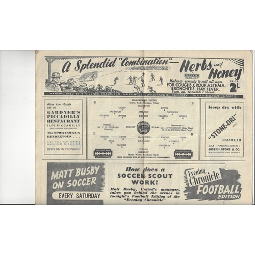 1948/49 Manchester United v Burnley Football Programme