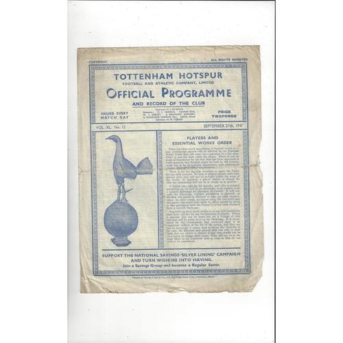 1947/48 Tottenham Hotspur v Doncaster Rovers Football Programme