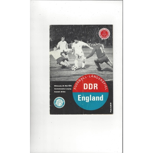 1974 East Germany v England Football Programme