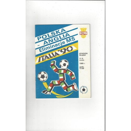 1989 Poland v England Football Programme