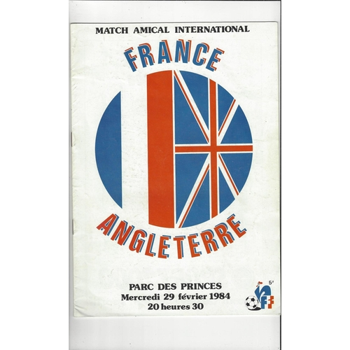 1984 France v England Football Programme