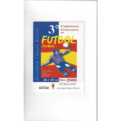 U19 Youth Championship Football Programme 2000 Walsall, Derby County, Vitesse