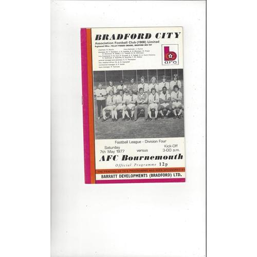 1976/77 Bradford City v Bournemouth Football Programme