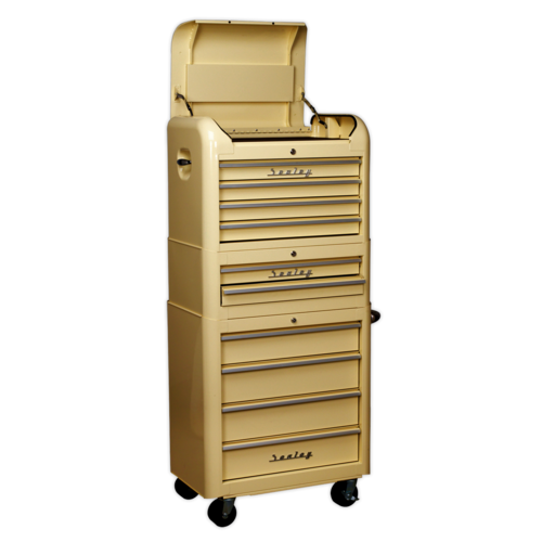 Retro Style Topchest, Mid-Box & Rollcab Combination 10 Drawer Cream - Sealey - AP28COMBO2