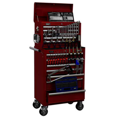 Topchest & Rollcab Combination 15 Drawer with Ball Bearing Slides - Red & 147pc - Sealey - APCOMBOBBTK57