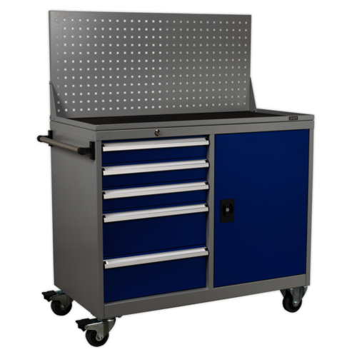 Industrial Mobile Workstation 5 Drawer & 1 Shelf Locker - Sealey - API1103A