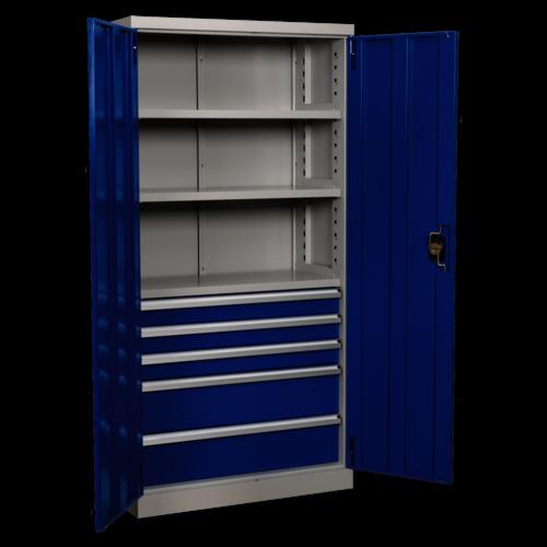 Industrial Cabinet 5 Drawer 3 Shelf 1800mm - Sealey - APICCOMBO5