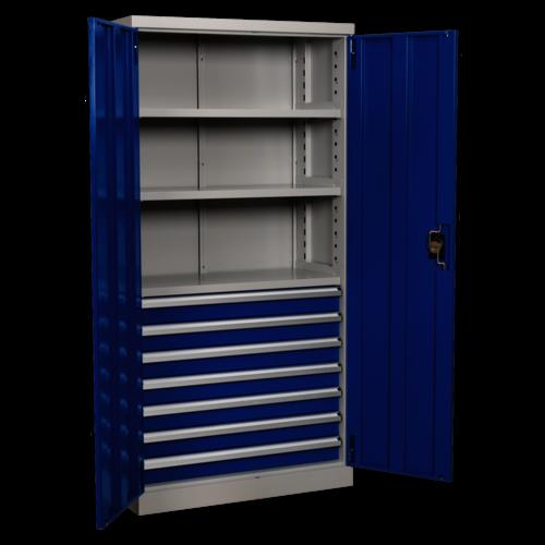 Industrial Cabinet 7 Drawer 3 Shelf 1800mm - Sealey - APICCOMBO7