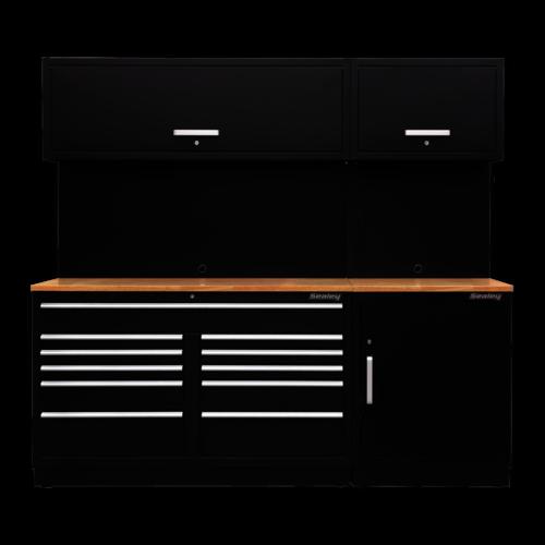 Modular Storage System Combo - Oak Worktop - Sealey - APMSCOMBO4W