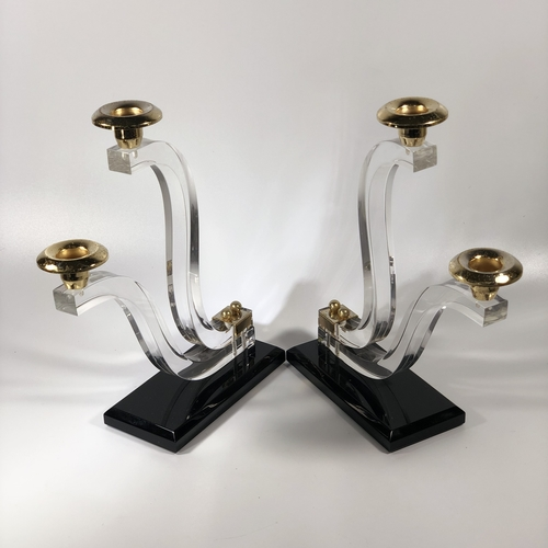 Pair of 20th Century lucite and gilt candlesticks