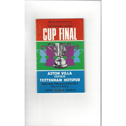 1971 Aston Villa v Tottenham Hotspur League Cup Final Football Programme + League Review