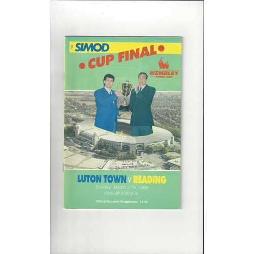 1988 Luton Town v Reading Simod Cup Final Football Programme