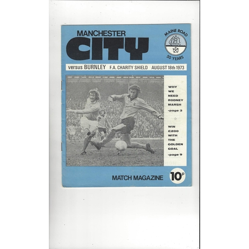 1973 Manchester City v Burnley Charity Shield Football Programme