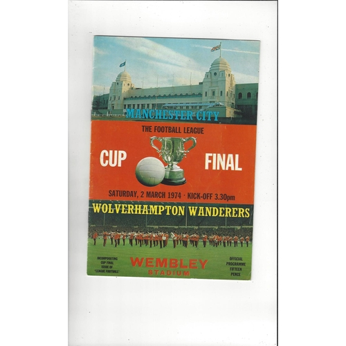 1974 Manchester City v Wolves League Cup Final Football Programme + League Review