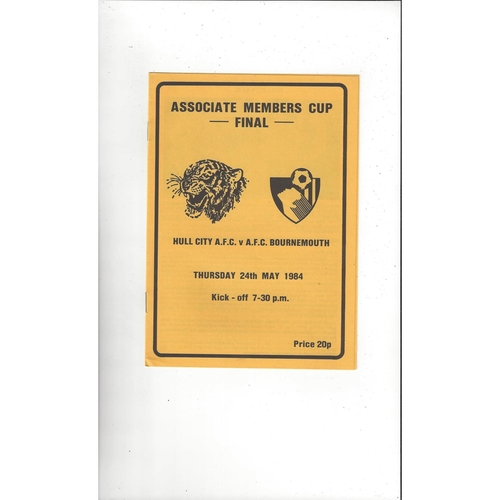 1984 Hull City v Bournemouth Associate Members Cup Final Football Programme